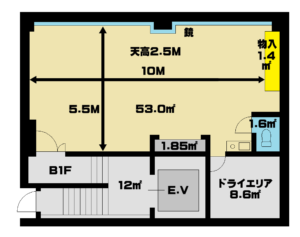 秋葉原駅のレンタルスタジオ ブルーハス 図面