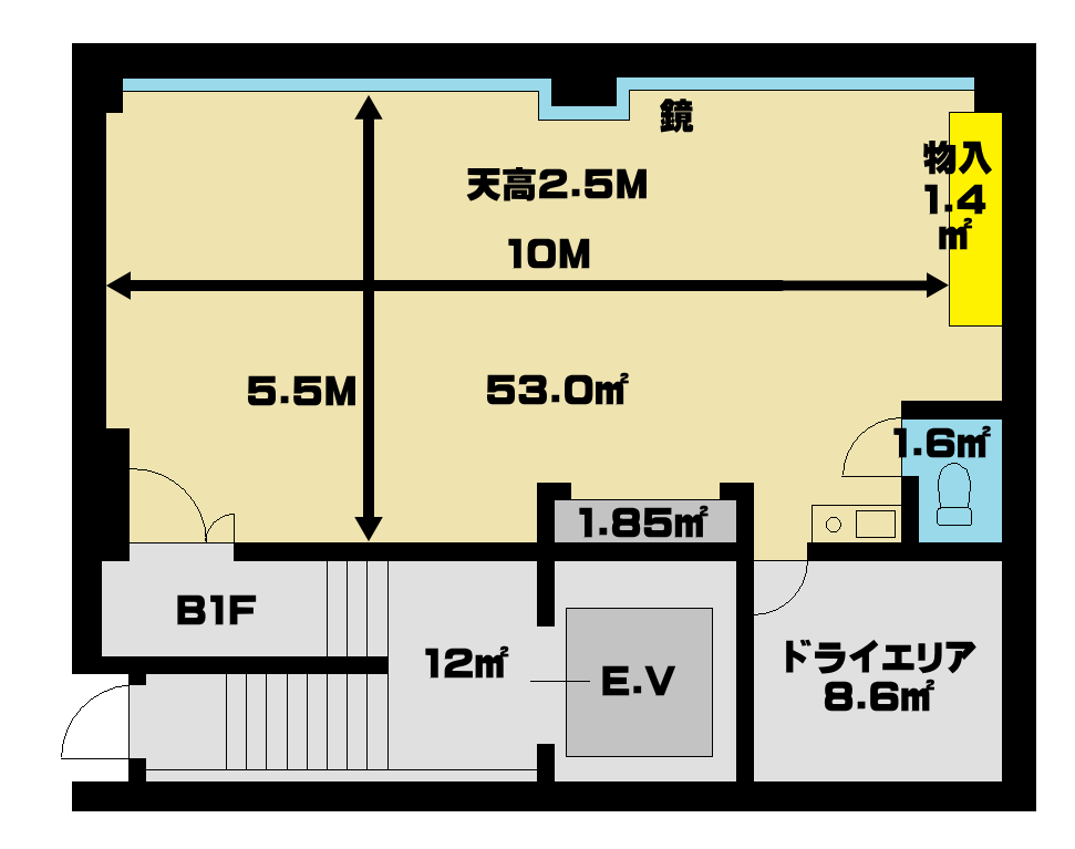 間取り 図面 秋葉原駅のレンタルスタジオ ブルーハス